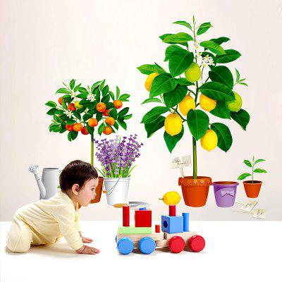 Simulation Vase Potted Green Plant Porch Corridor Wall Decoration Wall Sticker