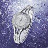 GREALY Women Fashion Quicksand Crystal Stainless Steel Dress Quartz Wrist Watch - SILVER