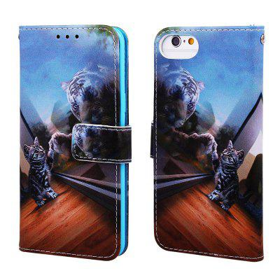 Mirror Cat Pattern PU Leather Wallet Phone Case for iPhone 6 / 6S / 7 / 8