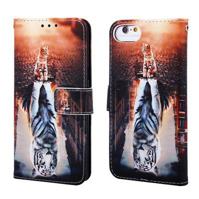 Cat and Tiger Pattern PU Leather Wallet Phone Case for iPhone 6 / 6S / 7 / 8