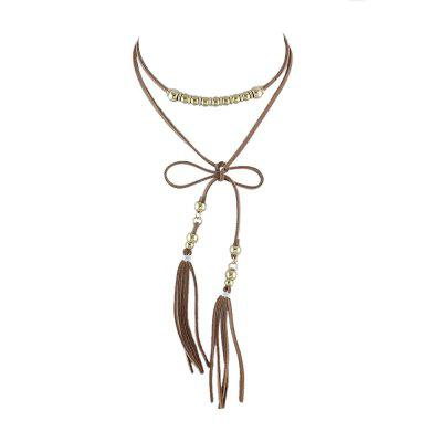 Gothic Suede Fabric Gold-Color Beads Tassel Necklace
