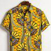 Men's  Summer Indian Ethnic Style Linen Short Sleeve Shirt - MULTI-E