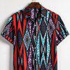 Men's  Summer Indian Ethnic Style Linen Short Sleeve Shirt - MULTI-I