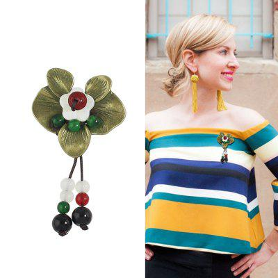 Colorful Beads Flower Charm Brooch
