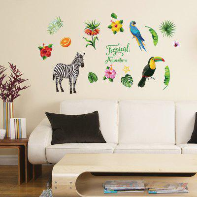 Tropical Zebra Parrot Home Background Decorative Wall Sticker Removable Sticker