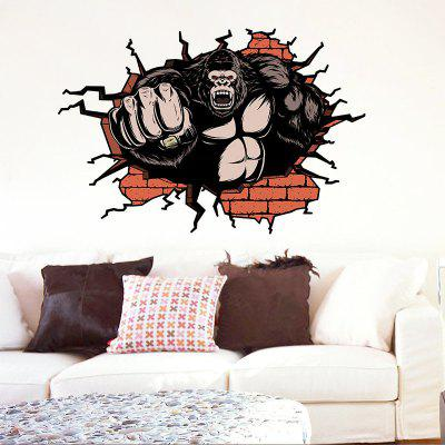 Broken Wall Orangutan Home Background Decorative Wall Sticker Removable Sticker