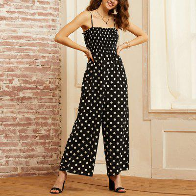 SBETRO Fashionable Black-And-White Wave-Point Jumpsuit Shuttle Pants