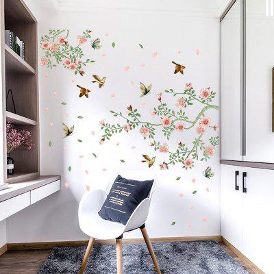 Falling Flowers și păsări Home Background Decoration Removable Stickers