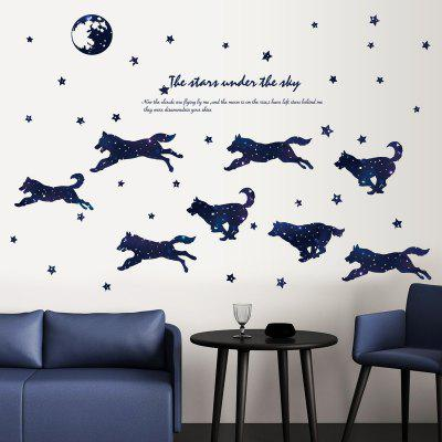 Creative Starry Wolf Family Background Decoration Removable Sticker
