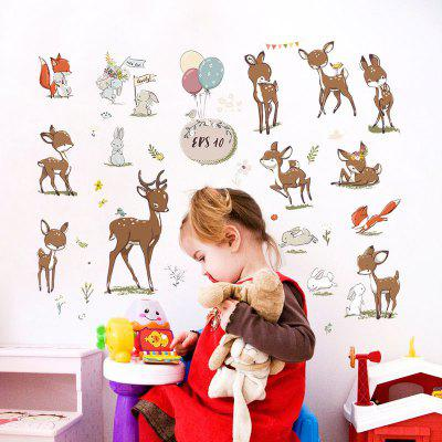 Sika Deer Cabinet Home Background Décoration Stickers muraux Autocollant amovible