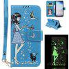 Luminous Effect Girl PU Leather Flip Wallet Phone Case for Samsung Galaxy S10 - BLUE