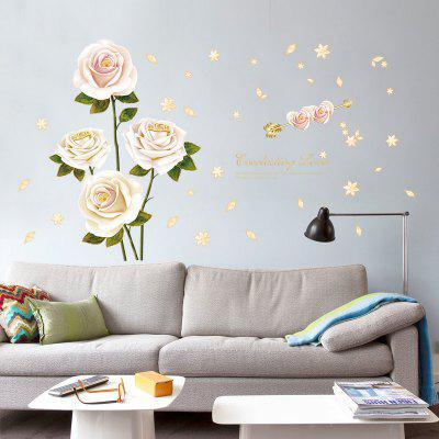 Creative White Rose Home Background Wall Decoration Removable Sticker