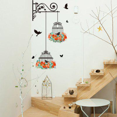 New Creative Fashion Bird Cage Home Background Wall Decoration Removable Sticker