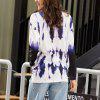 SBETRO New Long-Sleeved Blue-And-White Printed Knitted T-Shirts with Round Necks - MULTI-A