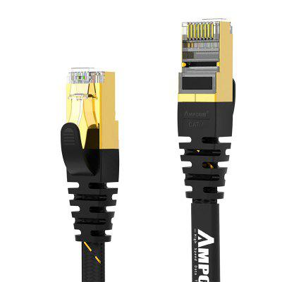 AMPCOM CAT7 Flat Ethernet Cable 10 Gbps High Speed S/FTP RJ45 Network Lan Cable