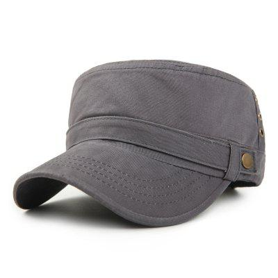 Washed Cotton Flat Cap Simple Retro Military Cap + Adjustable for 56-60CM