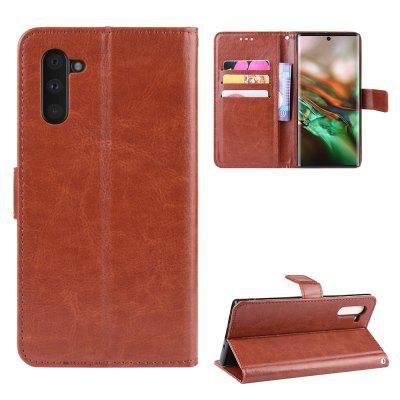 Crazy Horse PU Leather Phone Case For Samsung Galaxy Note 10, Black;red;brown;gold