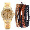 Luxury Fashion Men Stainless Steel Quartz Watch Set - GOLD