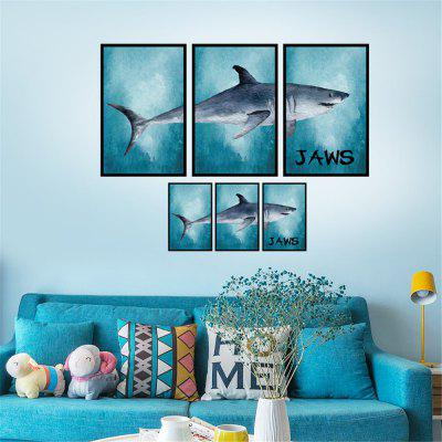 Great White Shark Photo Frame Home Background Wall Decoration Removable Sticker