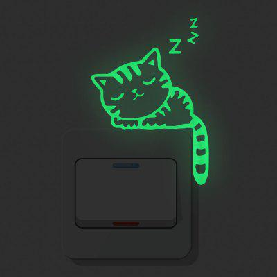 Luminous Switch Stickers Sleeping Cats Home Decoration Removable Stickers