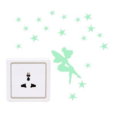 Luminous Wings Girl Switch Aufkleber Home Wall Decoration Abnehmbarer Aufkleber