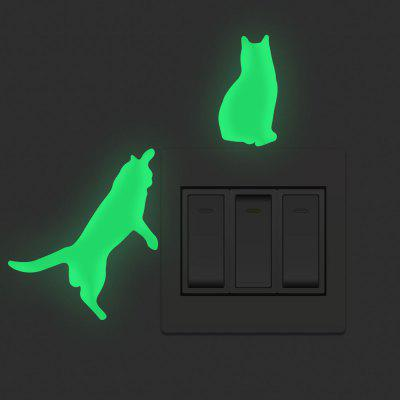 Luminous Cat Shape Switch Stickers Home Background Decoration Removable Stickers