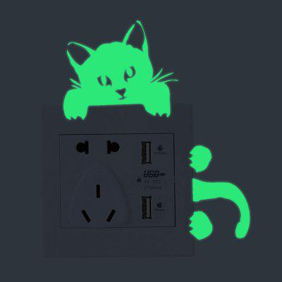 Luminous Cat Switch autocolante Pagina de decorare Removable Wall Stickers