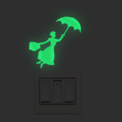 Umbrella Woman Switch Sticker Home Background Decoration Removable Wall Sticker