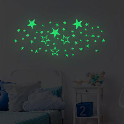 Luminoso estrella de cinco puntas, fondo de la casa, decoración de la pared, pegatina removible