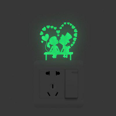 Luminos Love Kissing bărbați și femei Switch autocolante Removable Wall Stickers