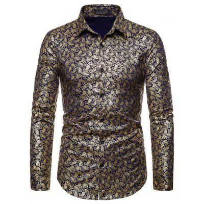 Men Lapel Cashew Flower Hot Stamping Long Sleeve Casual Shirt