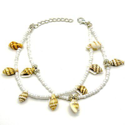 Fashion Double Deck Beach Conch Anklet Shell Rice Bead Foot Ornament