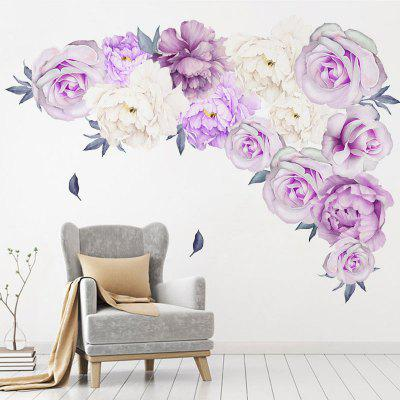 Purple Flowers PVC Window Film Wall Sticker For Home Decoration