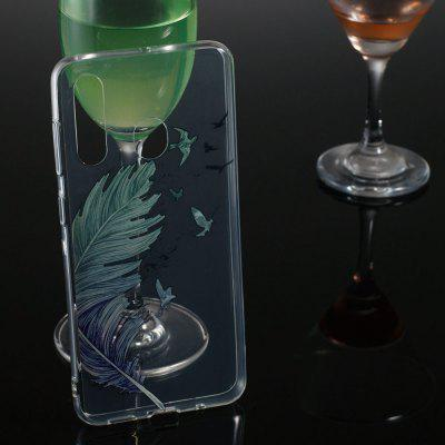 Feather Transparent Painted TPU Phone Case for Samsung Galaxy A60