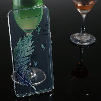 Feather Transparent Painted TPU Phone Case for Samsung Galaxy A80/A90