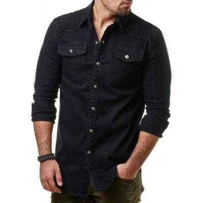 Wrinkled Shoulder-To-Shoulder Plain Men's Long-Sleeved Washed Denim Shirt Jacket