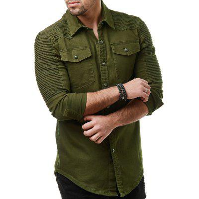 Wrinkled Shoulder-To-Shoulder Plain Men's Long-Sleeved Washed Denim Shirt Jacket, Black;khaki;army green