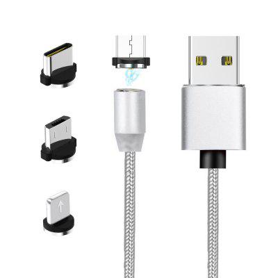 3 in 1 Cavo di Ricarica Magnetico in Nylon USB per iPhone / USB-C / Micro USB