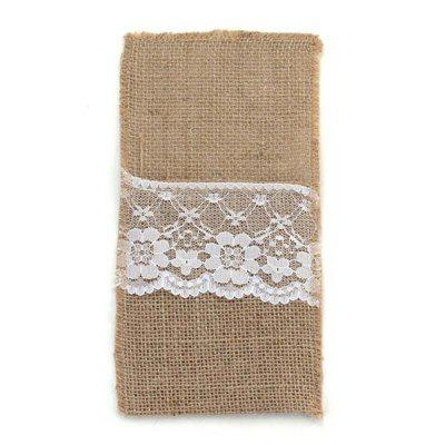 Linen Lace Tableware Knife and Fork Decorative Bag Wedding Party Supplies 10PCS