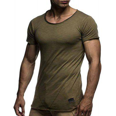 Men's  Summer Fashion Round Neck Solid Color Casual Slim Short Sleeve T-Shirt