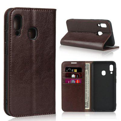 Genuine Leather Wallet Flip Phone Case for Samsung A20e