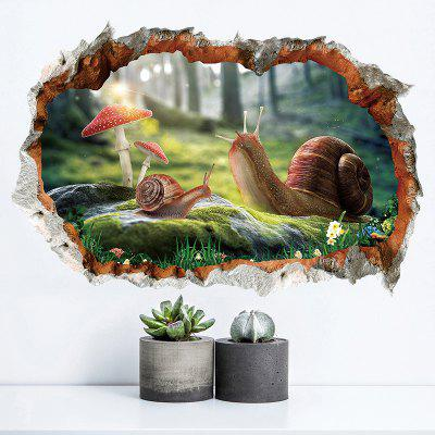 Adesivo rimovibile della nuova 3D Broken Wall Snail Home Background Decoration