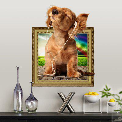 Puppy Listening Music Home Background Decoration Removable Sticker