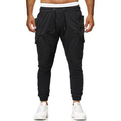 Men's Fashion Zipper Stitching Pure Colour Shoe Trousers and Leisure Pants