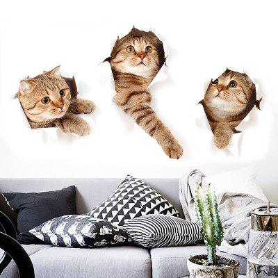 Cartoon 3D Simulation Kitten Home Background Decoration Removable Sticker