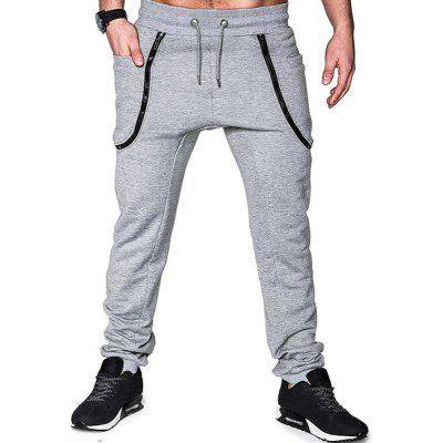 Men's Fashion Zipper Stitching Tie-up Belt and Foot-binding Casual Pants