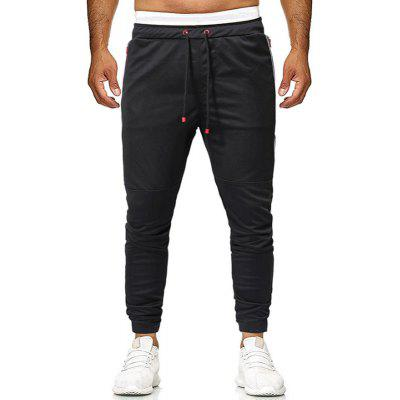 Men's Collision Colour Splicing Tie-Up Belt With Legs Tied Up In Leisure Trouser