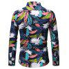 European Code Men Fashion Contrast Color Printed Slim Long-Sleeved Shirt - DEEP BLUE