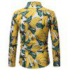 Men Fashion Contrast Color Digital Print Casual Long-Sleeved Shirt - YELLOW
