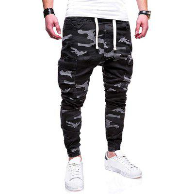 Men Fashion Camouflage Cotton Tether Belt Casual Pants Beamed Overalls